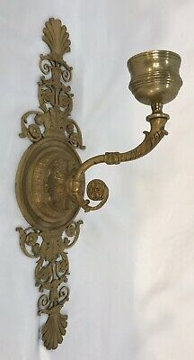 Antique French Bronze Or Brass Neoclassical Ornate Candle Wall Sconce