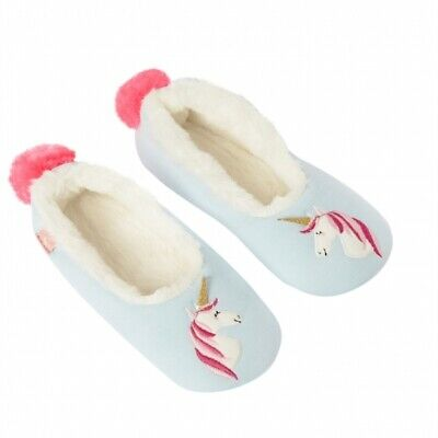 Joules DREAMA Girls Soft Warm Cotton Slip-On Ballerina Slippers Blue Unicorn