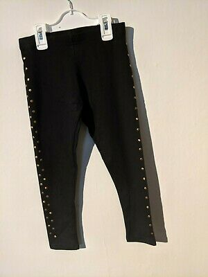 Girls Kids Teens Studded Leggings Childrens Cotton Stretch Full Length Black
