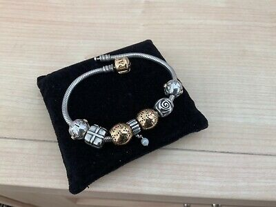 100% GENUINE PANDORA MOMENTS BRACELET 20cm 14ct GOLD CLASP WITH CHARMS