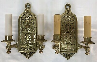 Pair Antique Early 20th C. H & B Arts & Crafts Nouveau Brass Wall Light Sconces