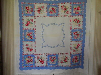 """1950's Vintage Cotton Tablecloth 48"""" x 52"""" White w/ Blue Red Green Floral Design"""