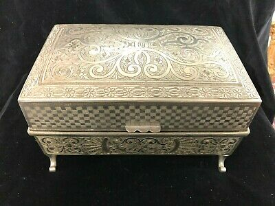 Antique Thorens Swiss Made Silver Plate Musical Jewelry Box