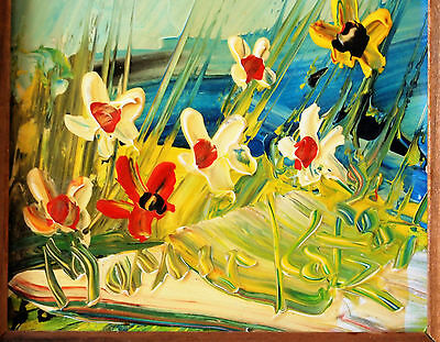 Original Oil on Board Painting Flowers in Landscape by Morris Katz, Jewish/Ameri