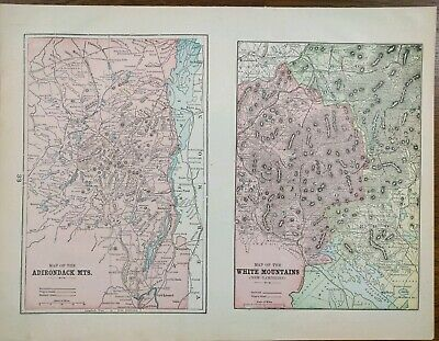 Vintage 1900 ADIRONDACK WHITE MOUNTAINS Map ~ Old Antique NEW HAMPSHIRE NEW YORK