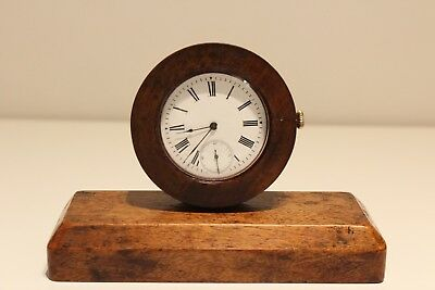 Antique Hand Made Wooden Desk Mechanical Clock With Swiss Pocket Watch Movement