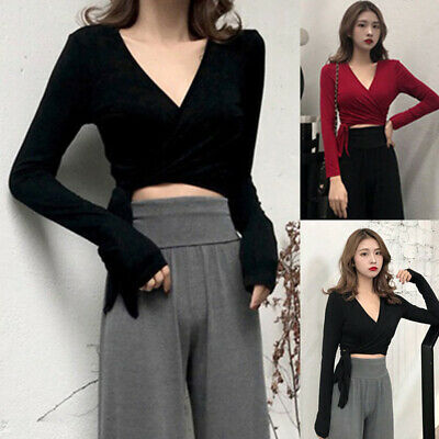 Womens Plus Size Sexy Side Tie Cropped Tops Slim Fit Shirts V Neck Party Blouse