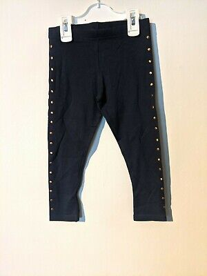 Girls Kids Teens Studded Leggings Childrens Cotton Stretch Full Length Navy