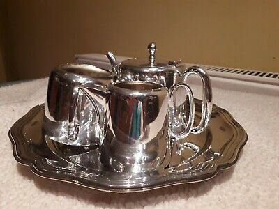Antique silver plate Sheffield A1 EPNS tea pot sugar bowl creamer serving tray
