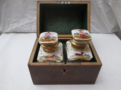 Antique Early 19th Century Chinese Porcelian Tea Caddies In Mahogany Box.