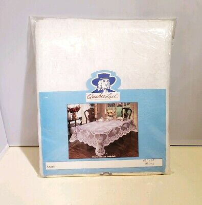 """Vintage Quaker Lace Tablecloth, Angels Pattern Oblong 60""""x84"""", New Old Stock"""