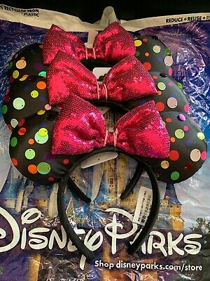 NWT Disney Parks Black Polka Dot Minnie Mouse Ears Headband With Pink Sequin Bow