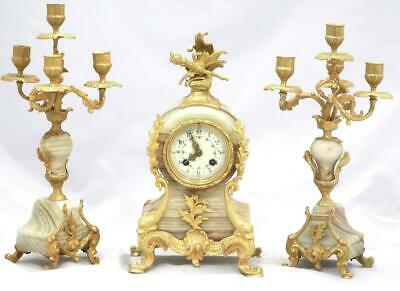 Antique French Mantle Clock Beautiful 3 Piece Garniture Clock Set Striking 8 day