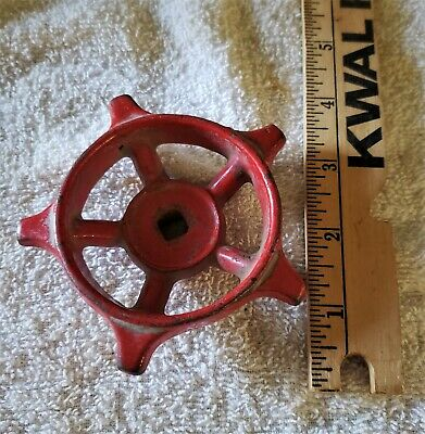 "3.5"" Vintage Cast Iron Red Water Spigot Faucet Knob Valve Handle Steampunk #15"