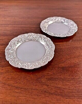 (2) Kirk & Son Sterling Silver Repousse Butter Pat Dishes: Pattern #17 No Mono
