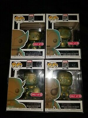 Funko Pop Marvel 80 Years PATINA set of 4 lot # 495-98 Target EXCLUSIVE