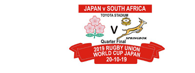 Japan South Africa  Limited Edition Carded Rugby World Cup Japan 2019 Q/F Badge