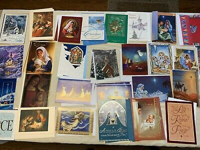 Lot of 35 Religious Christmas Cards Unused with envelopes