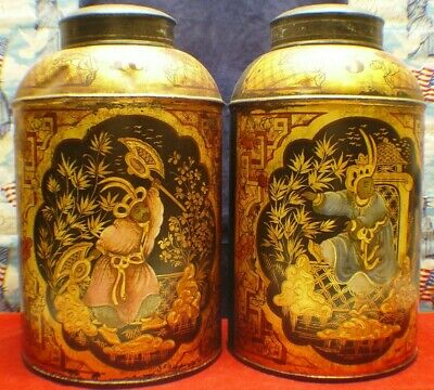Pair Of Antique 19Th Century Mid 1800'S Round Tin English Tea Tole Canisters