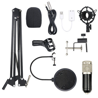 BM800 Condenser Microphone Lit Pro Audio Studio Mic Suspension Scissor Arm F0F9