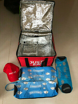 JUST EAT INSULATED STAY WARM TAKEAWAY BAG WITH FOIL LINING & Cap + Till Rolls