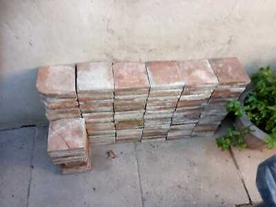 "Over 220 of Reclaimed Victorian Red and Blue/Black 6,25 x6,25x1"" Quarry Tiles"