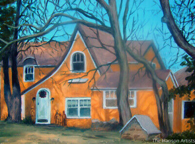 (REDUCED ) Old Cottage Architectural Oil Painting