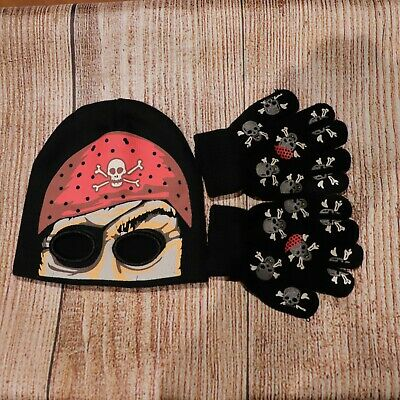 Toddler Boys Pirate Beanie & Glow In The Dark Mittens ~ New ~ MBC