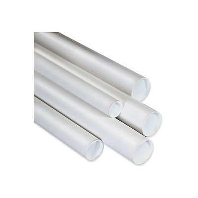 """Mailing Tubes with Caps, 1-1/2"""" x 30"""", White, 50/Case"""