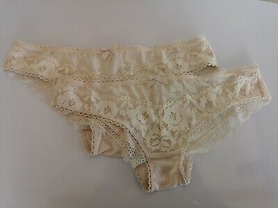 Pack of 2 New Ex Store Stretch Floral Lace Brazilian Knickers ** Free Postage **