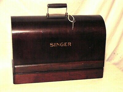 Vintage SINGER Sewing Machine Bentwood Dome Case with Key