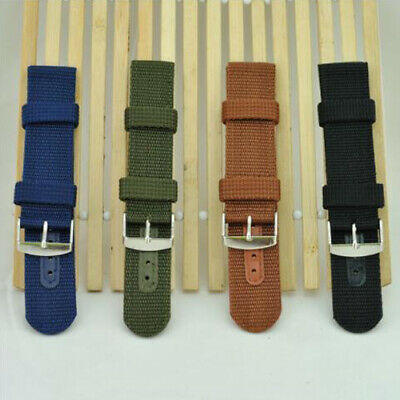Thicken Fabric Woven Nylon Watch Band Strap Silver Buckle Belt 18 20 22mm