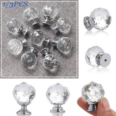 Cupboard Pulls Chrome and Cabinet Handles Crystal #K196NRB Glass Door Knobs