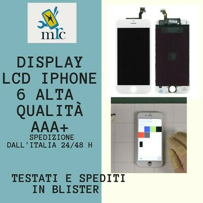 LCD PER APPLE IPHONE 6 bianco DISPLAY ORIGINALE TIANMA TOUCH SCREEN CON FRAME