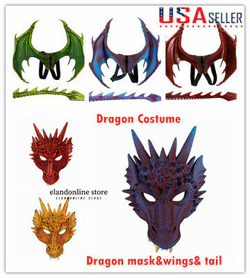 Kids Halloween Fancy Dress Dragon Costume Wing Tail Mask Game of Thrones AU