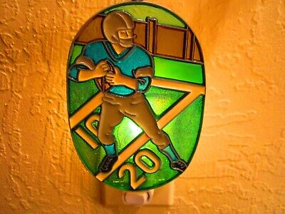 Beautiful Boy Playing Football Stained Glass Style Night Light