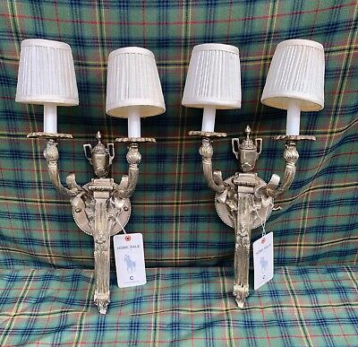 Ralph Lauren Home Antique Silver Wall Light Sconce Pair Store Display from NYC
