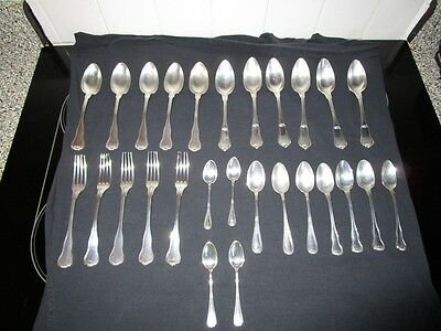 27 Antique 19c French Sterling Assorted Large Fork Soup Tea Hallmarkd c1840-90