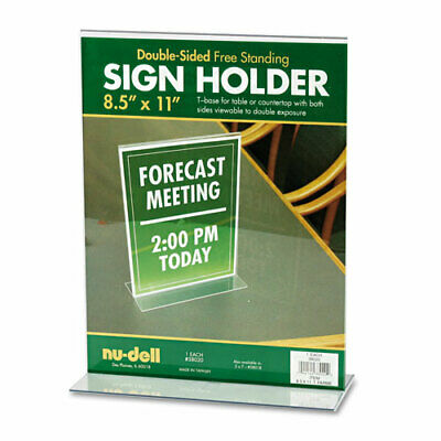 Nu-Dell Acrylic Sign Holder, 8-1/2 x 11, Clear, EA - NUD38020