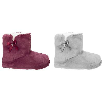 SlumberzzZ Womens//Ladies Faux Fur Lined Star And Bow Tie Slippers SL700