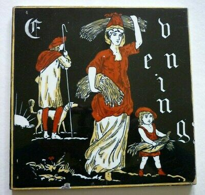"""Scarce 8"""" Minton Hollins Large Tile """"Evening"""" From The Times Of The Day Series"""