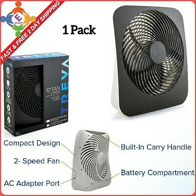 Treva 10-Inch Portable Desktop Air Circulation Battery Fan With AC Adapter