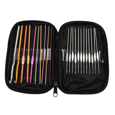 22pcs Set Multi-colour Aluminum Crochet Hooks Needles Knit Weave Craft Yarn #16Y