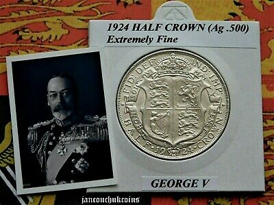 🌟 EXTREMELY FINE? 1924 Half Crown George V (Silver .500)