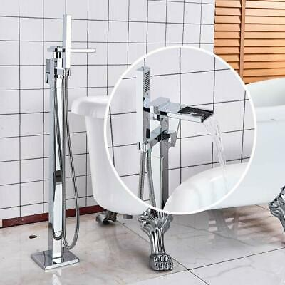 Chrome Waterfall Floor Mount Bathtub Faucet Free Standing Tub Filler W/Handheld