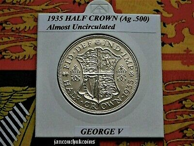 🌟 ALMOST UNCIRCULATED? 1935 Half Crown George V (Silver .500)