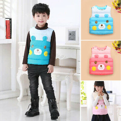 Kids Boys Girls Winter Warm Waistcoat Vest Coat Cartoon Print Windproof Outwear