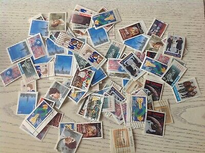 Mix Of 400 Canada Used Commemorative And Christmas Stamps-off Paper