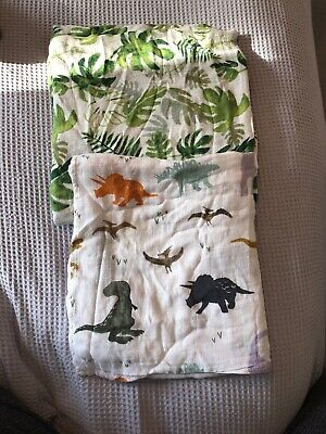 Bamboo Cotton Large Muslin Blankets Dinosaur Leaf Print Baby Swaddle Wrap