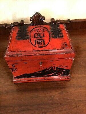 Antique Asian Chinese Red Lacquered Painted Lined Jewelry Trinket Box W Key